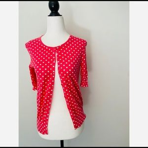 Ann Taylor Pink Polka Dot button-up Cardigan SP